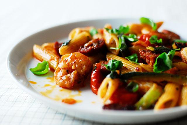 Studio kuchnia | Penne z Chorizo i Krewetkami
