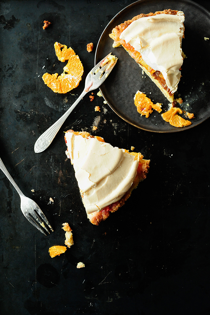 serving dumplings   Citrus tart with meringue