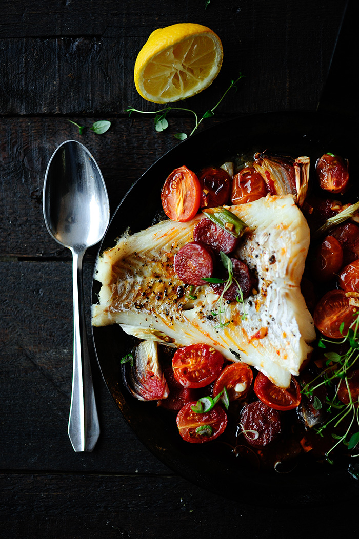 serving dumplings   Baked cod with chorizo and cherry tomatoes