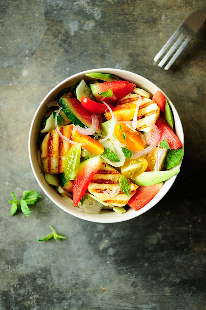 serving dumplings   Watermelon salad with grilled halloumi