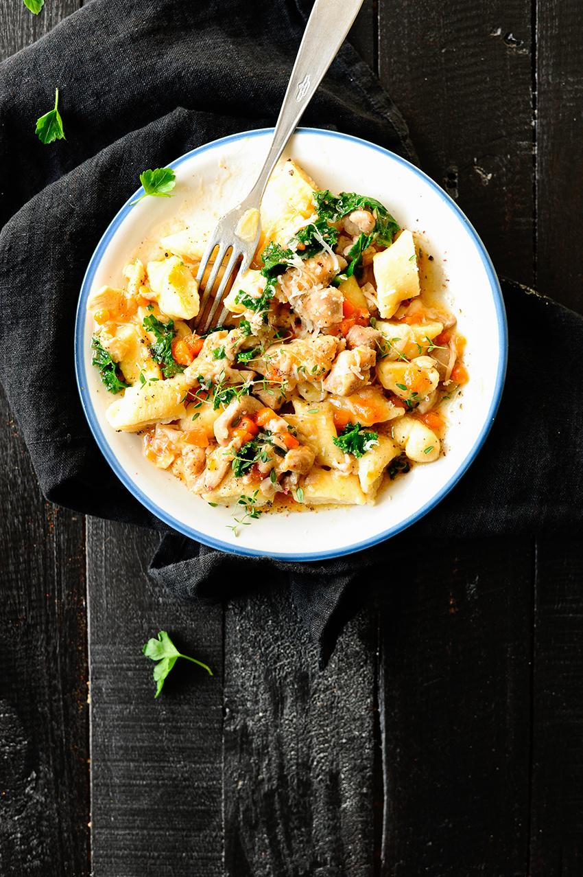 serving dumplings | Gnocchi with chicken ragout