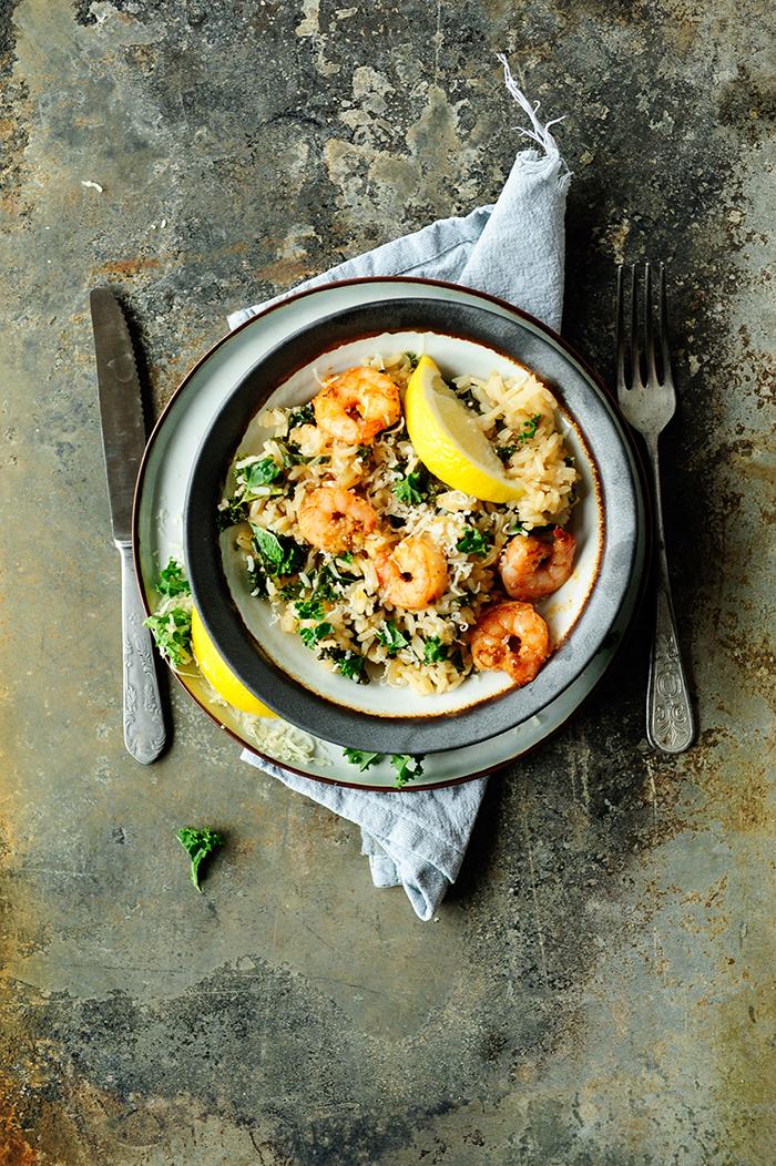 serving dumplings | Kale risotto with shrimps