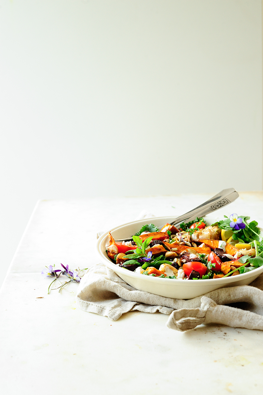 Salatka z soczewicy i pieczonych burakow z batatami 3