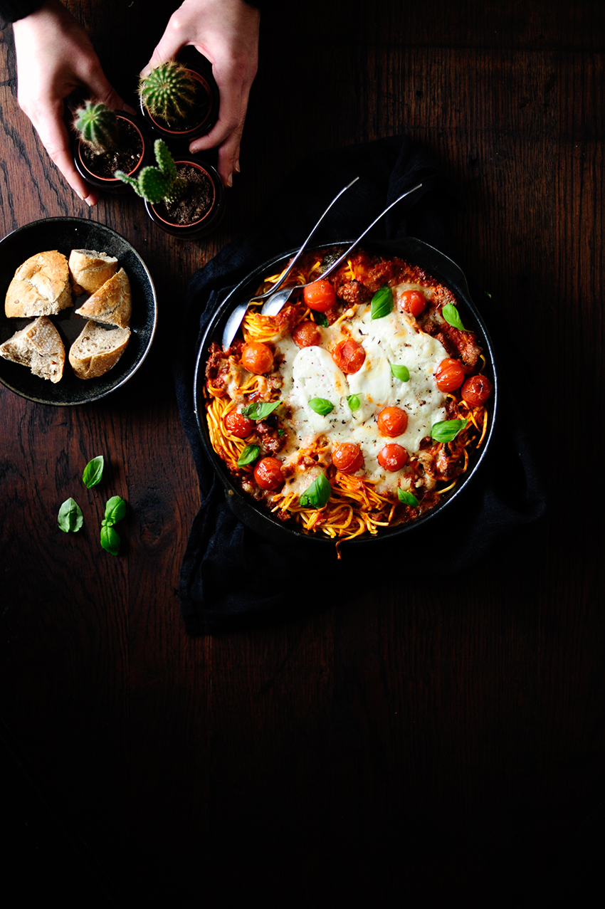 serving dumplings | Cheesy baked pasta with roasted vegetables