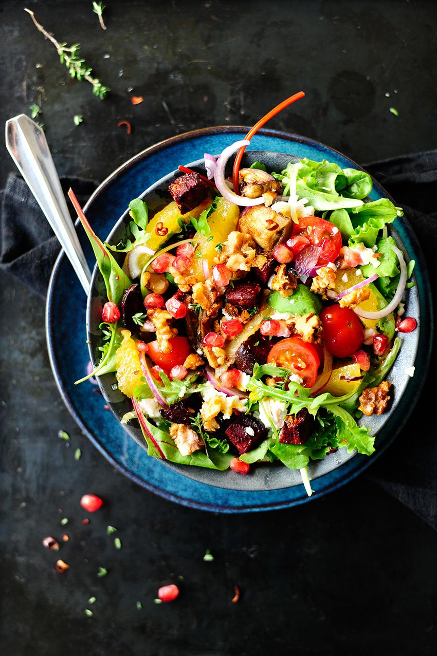 serving dumplings | Roasted vegetables and caramelized walnuts salad 1