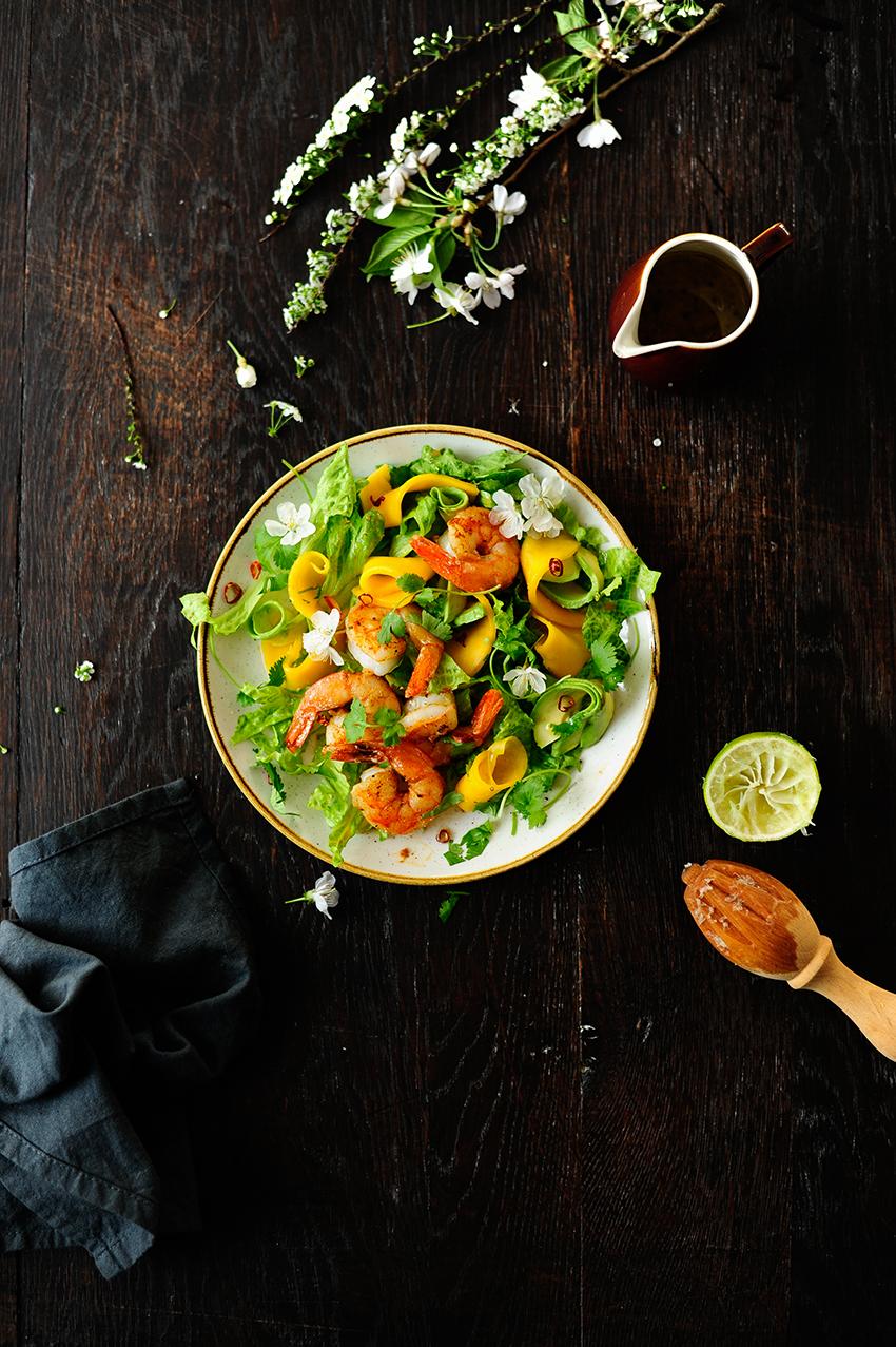serving dumplings   Fajita shrimps and rum pickled mango salad with honey lime dressing