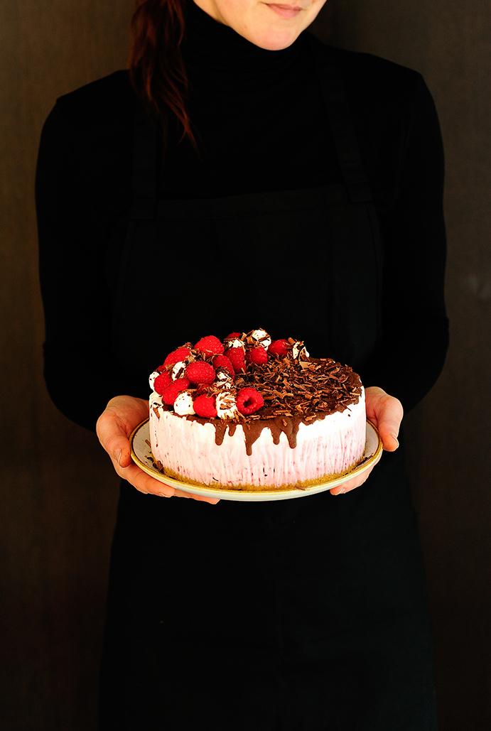 serving dumplings | Raspberry chocolate ice cream cake