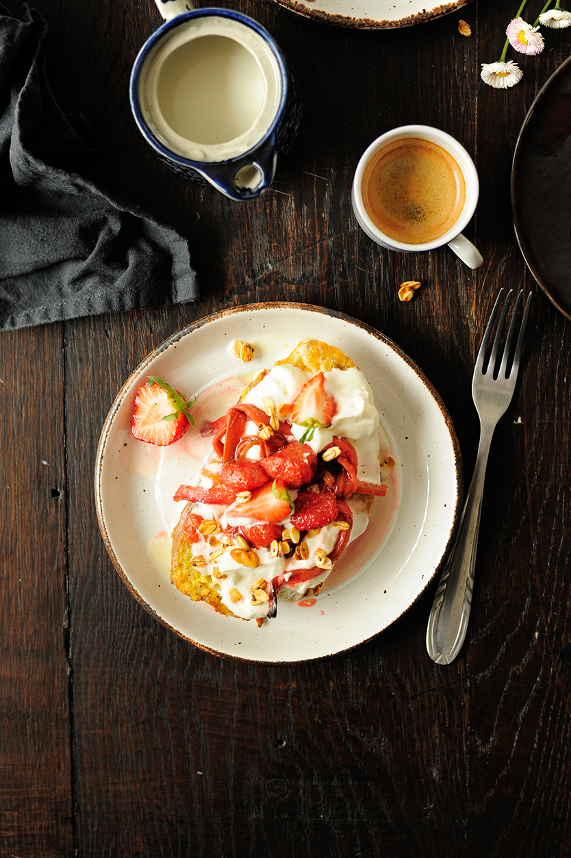 serving dumplings | French toast with roasted strawberries and rhubarb