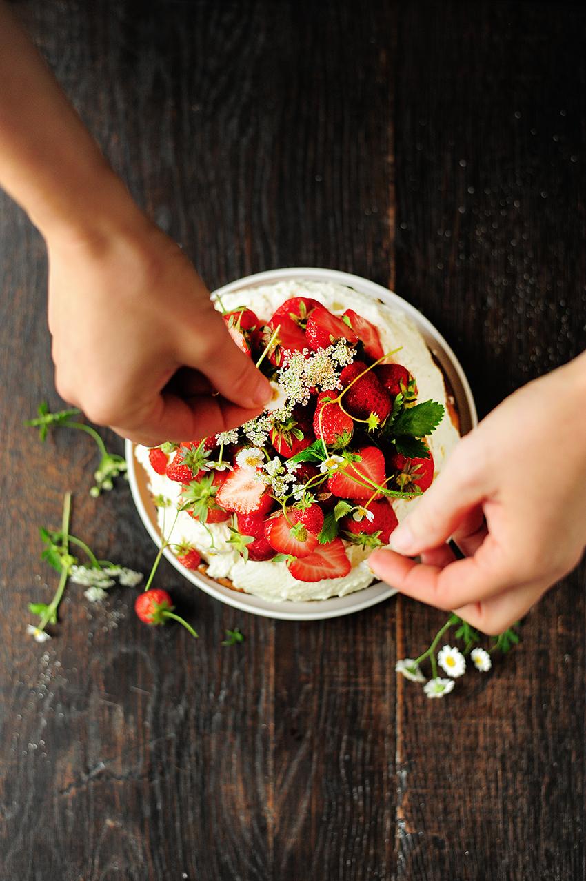 serving dumplings | Aardbeiencake