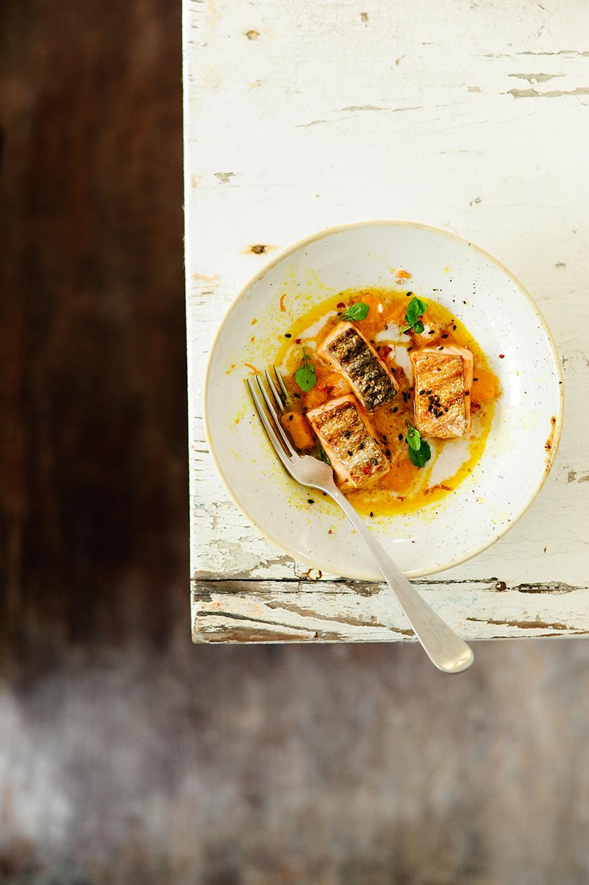 serving dumplings   Thai salmon with butternut
