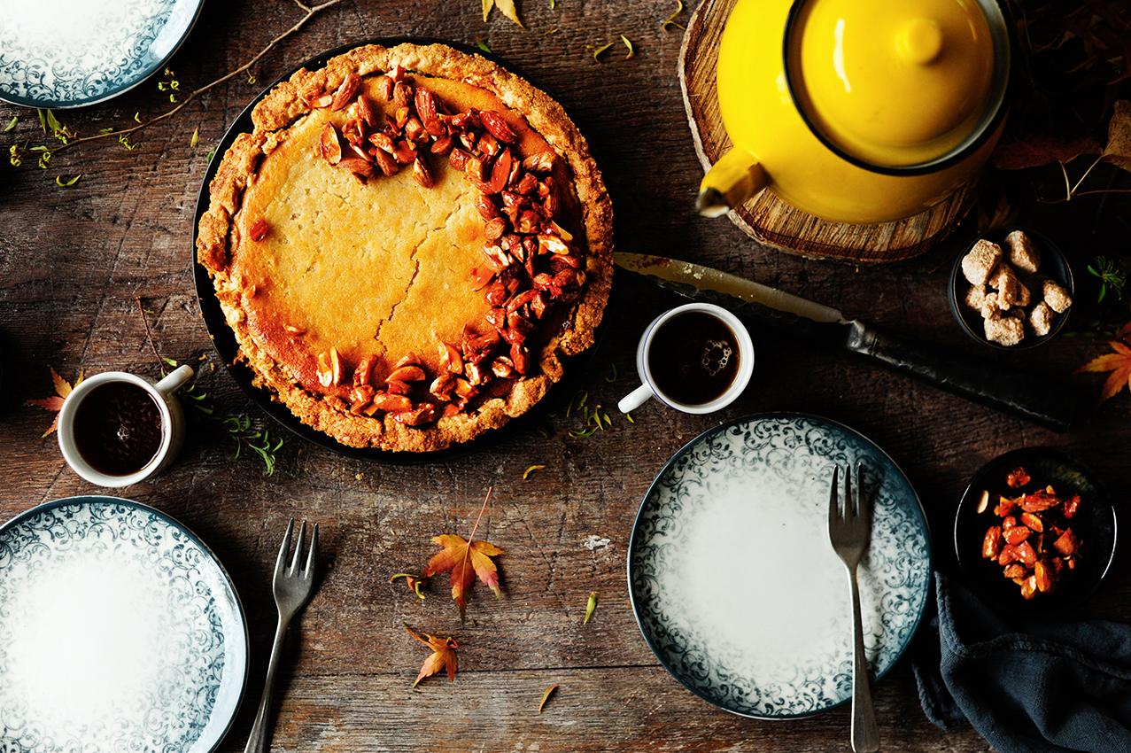 studio kuchnia   Wegański pieczony sernik z migdałami