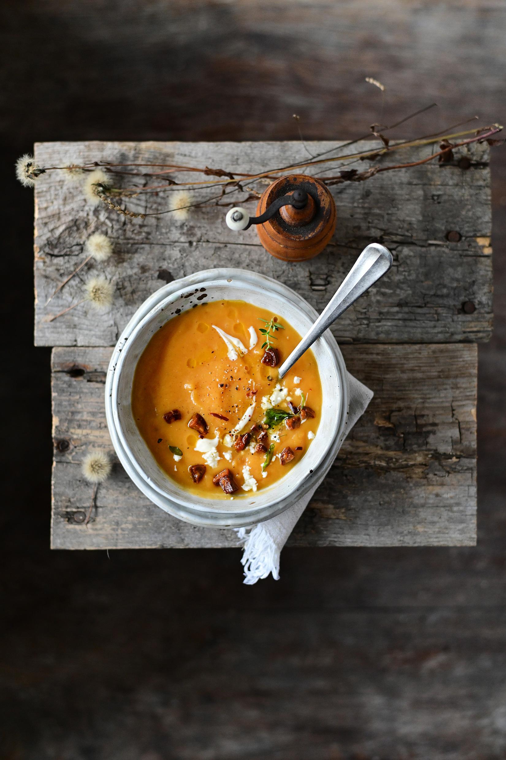 serving dumplings | Roasted pumpkin soup with crispy chorizo and feta