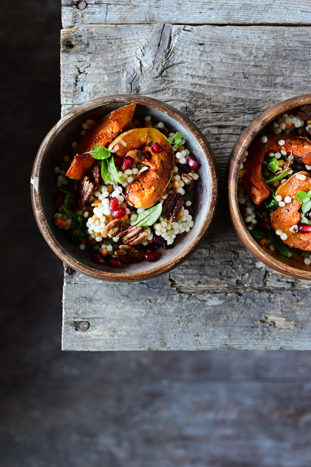 serving dumplings | Pearl couscous and roasted pumpkin salad with pomegranate