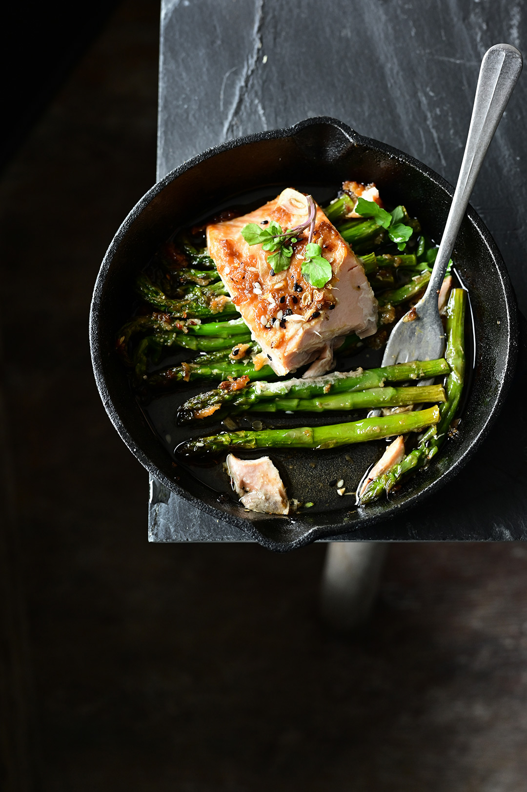 serving dumplings | Miso roasted salmon with asparagus