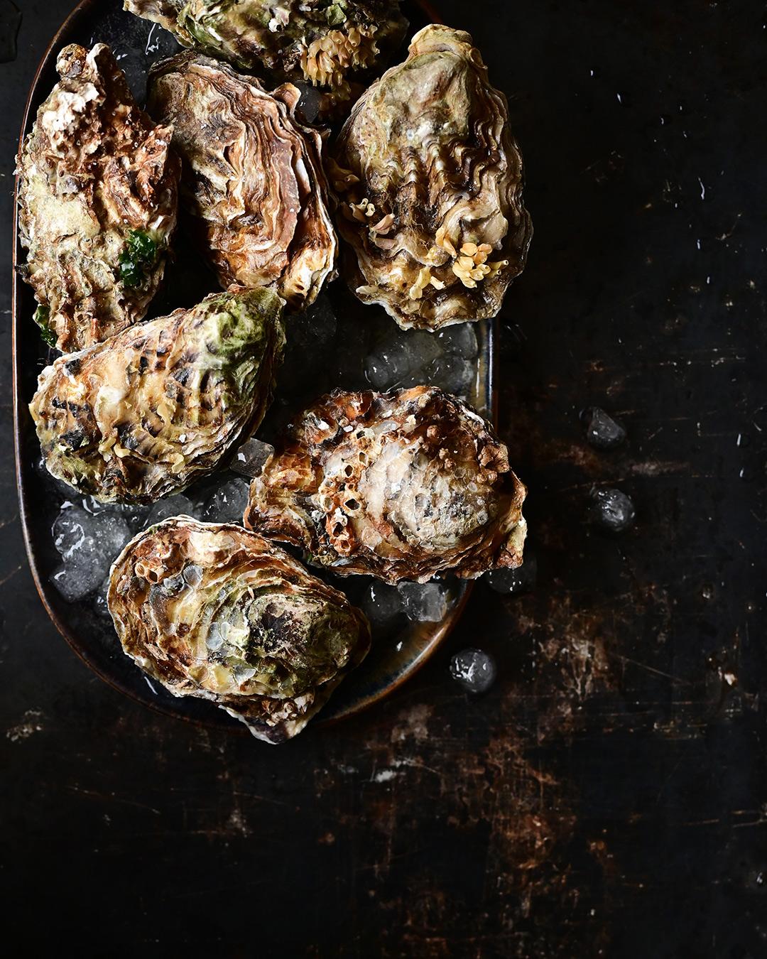 serving dumplings   Ostrygi zapiekane z parmezanem, aïoli i masłem szałwiowym