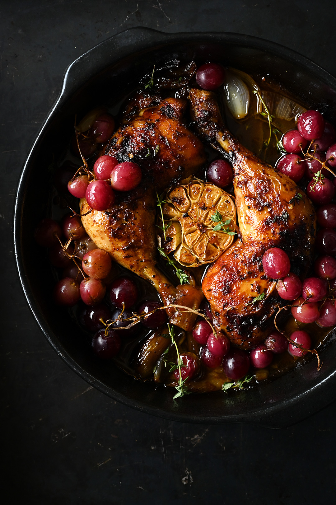 serving dumplings   Roast chicken legs with garlic and grapes