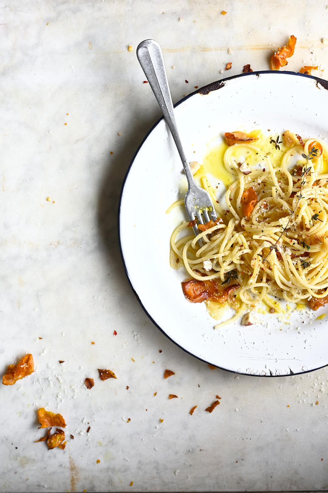 serving dumplings | Crispy sweet potato and burnt butter spaghetti