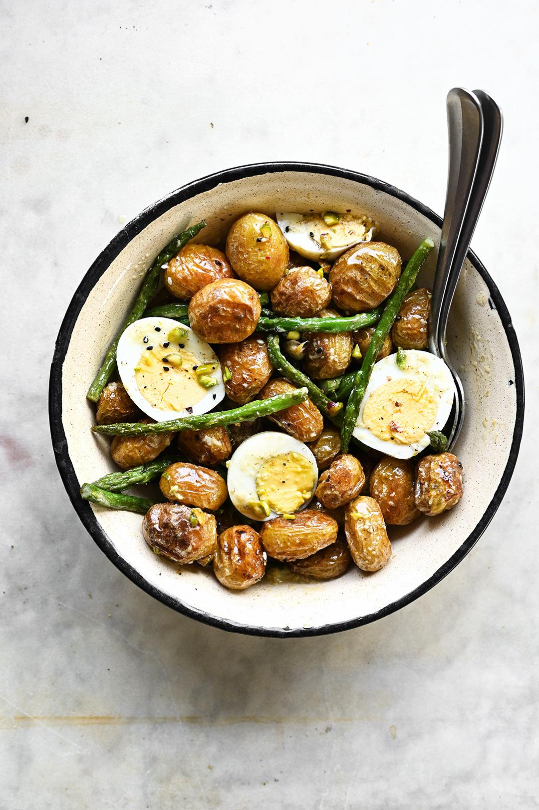 serving dumplings | Za'atar roasted potato and asparagus salad