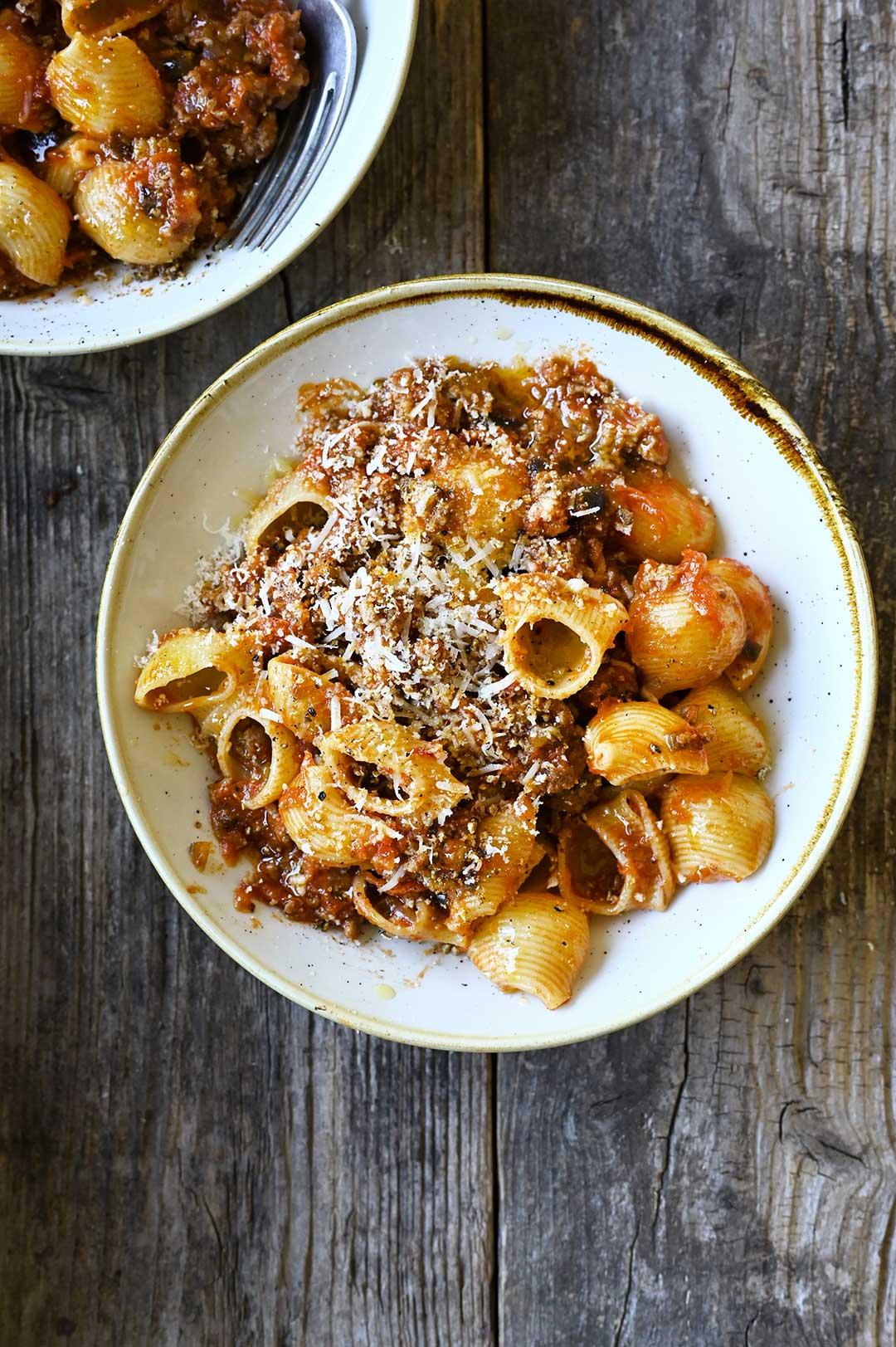 serving dumplings | Cheesy eggplant-beef bolognese pasta bake