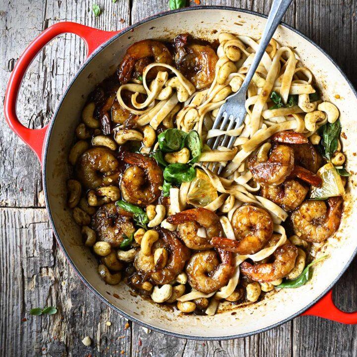 20 Minute Cashew Shrimp with Sticky Garlic Soy Sauce