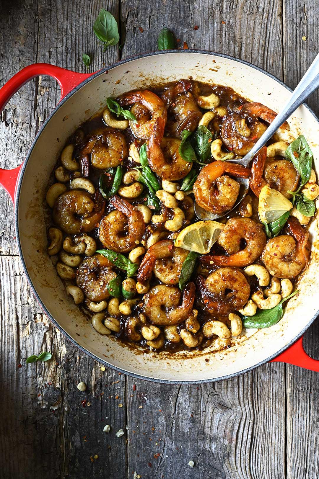 serving dumplings | 20 minute cashew shrimp with sticky garlic soy sauce
