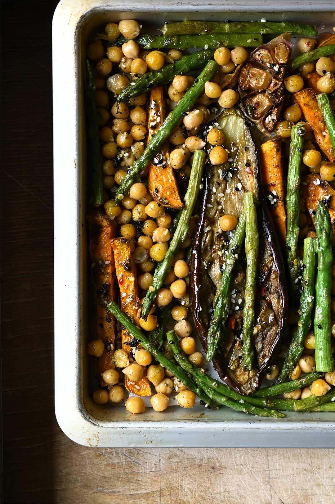 serving dumplings | Hummus bowl with roasted vegetables & za'atar oil