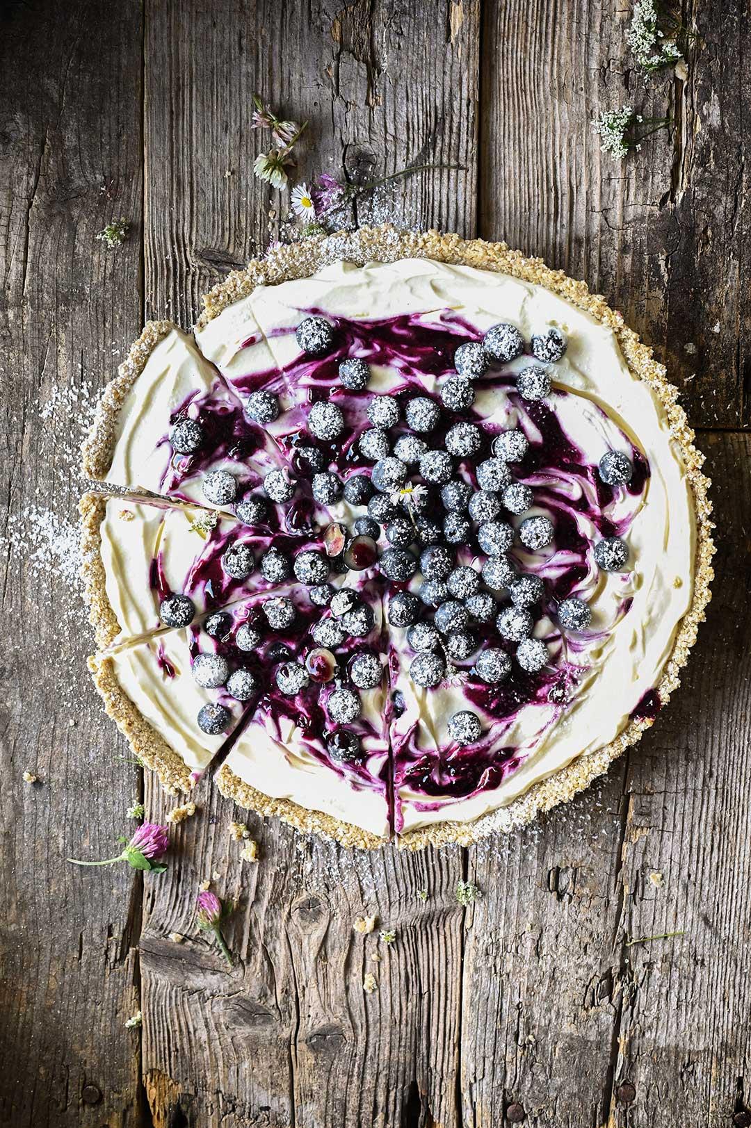 serving dumplings | No-bake blueberry cheesecake