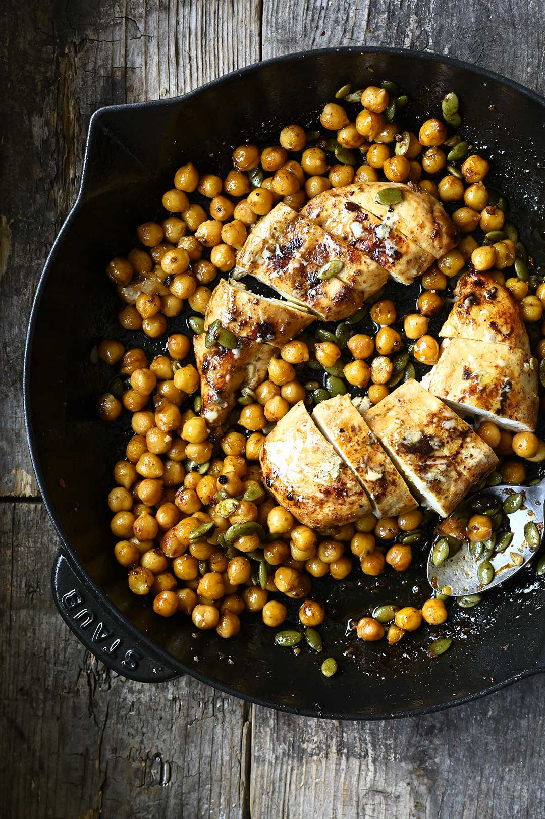 serving dumplings   Chicken salad with chickpeas and parmesan dressing