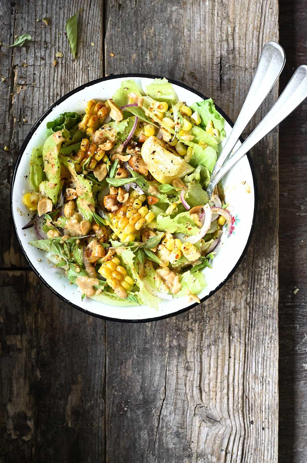 serving dumplings | corn salad with spicy peanut dressing