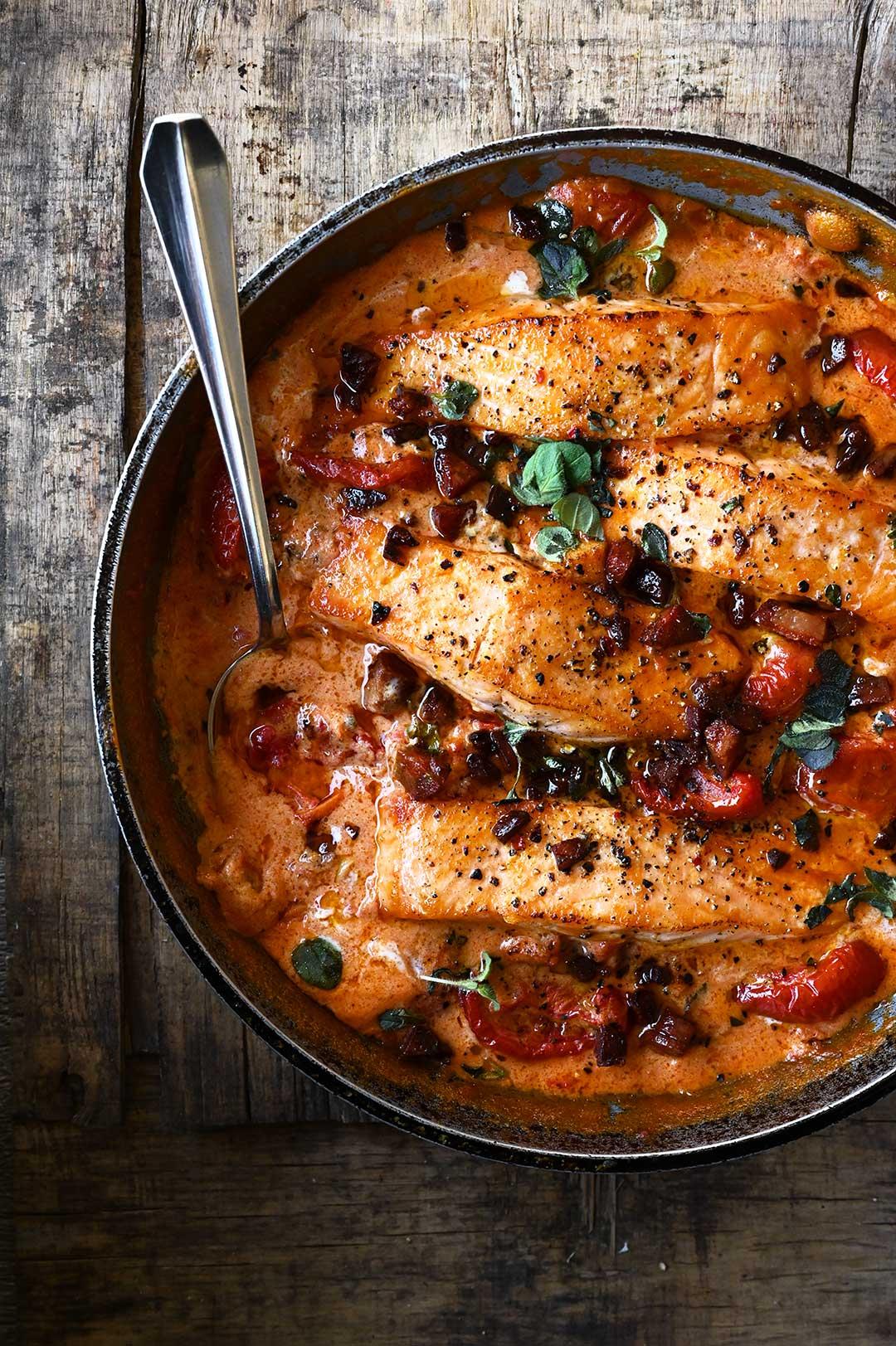 serving dumplings   One-Pan Creamy Tomato Salmon with Chorizo