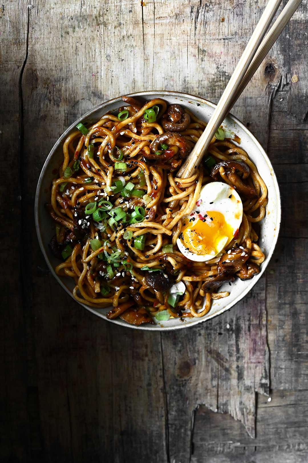 serving dumplings | Spicy Garlic Shiitake Noodles