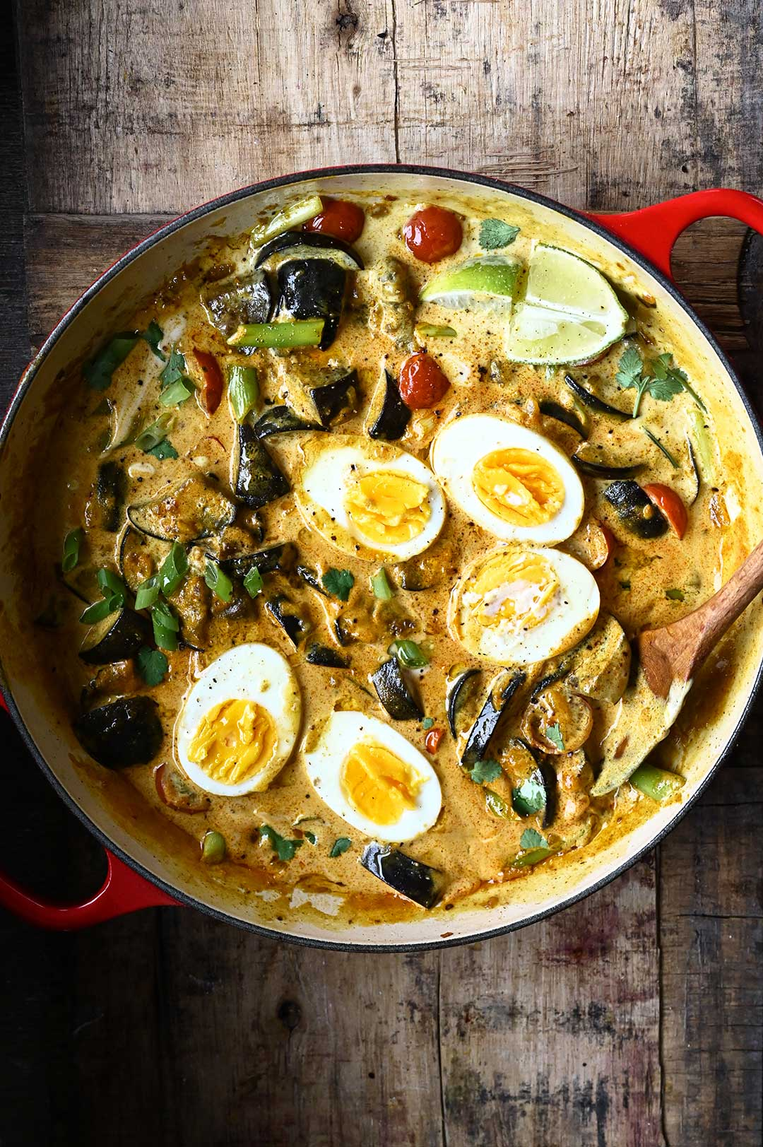 serving dumplings   Coconut Egg Curry with Eggplant
