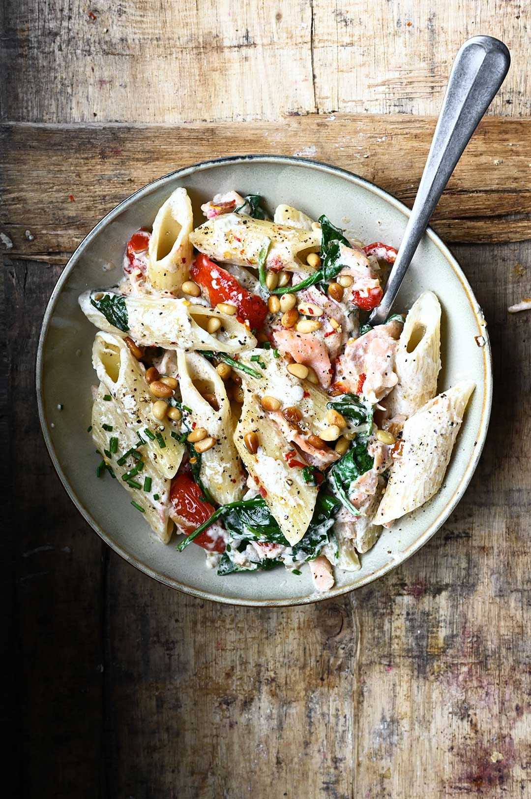 serving dumplings | Penne with smoked salmon and mascarpone