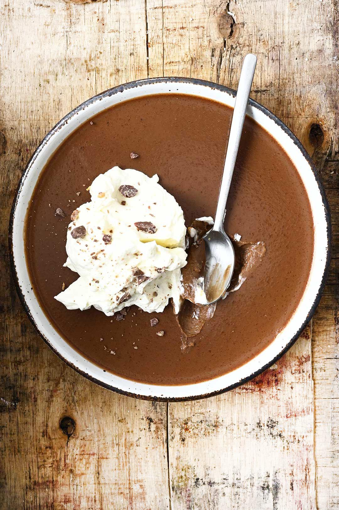 serving dumplings | Chocolate Peanut Butter Panna Cotta