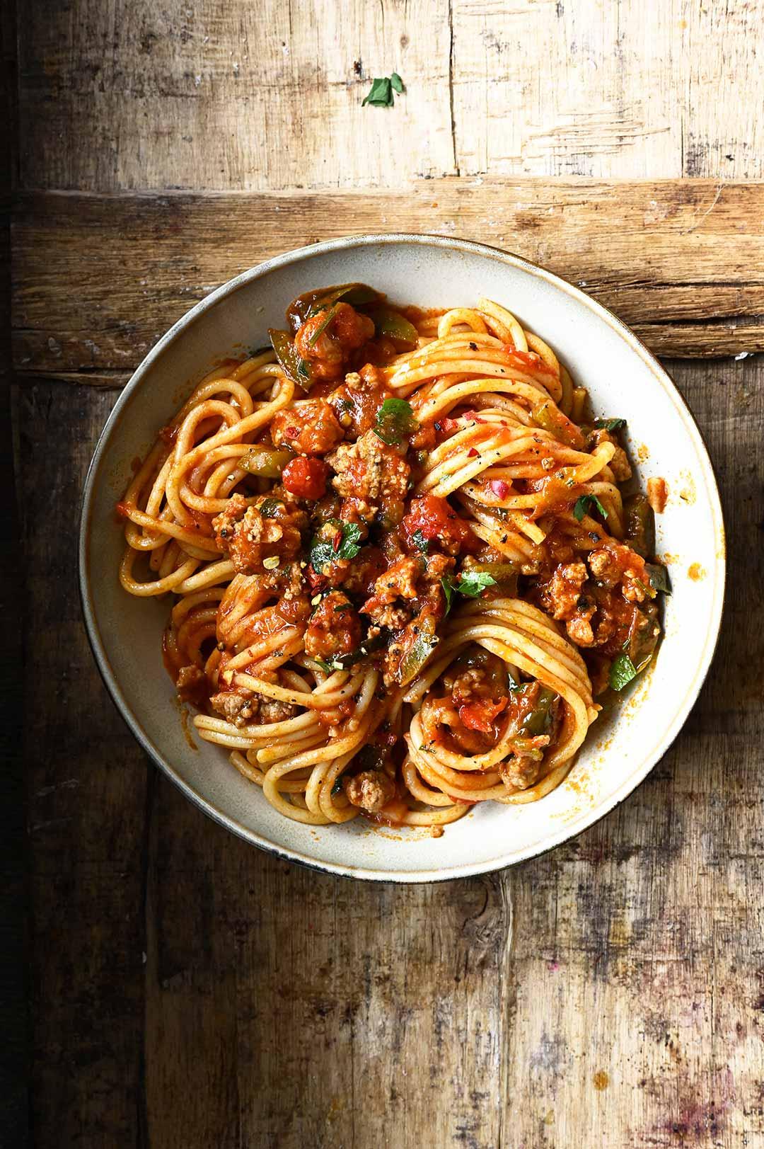 serving dumplings | Spaghetti bolognese met groene paprika
