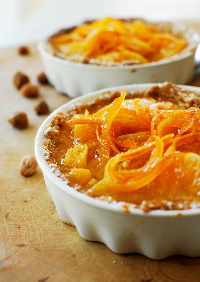Orzechowe tartaletki z mascarpone i pomarańczami