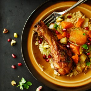 Duszony kurczak z warzywami i kuskus