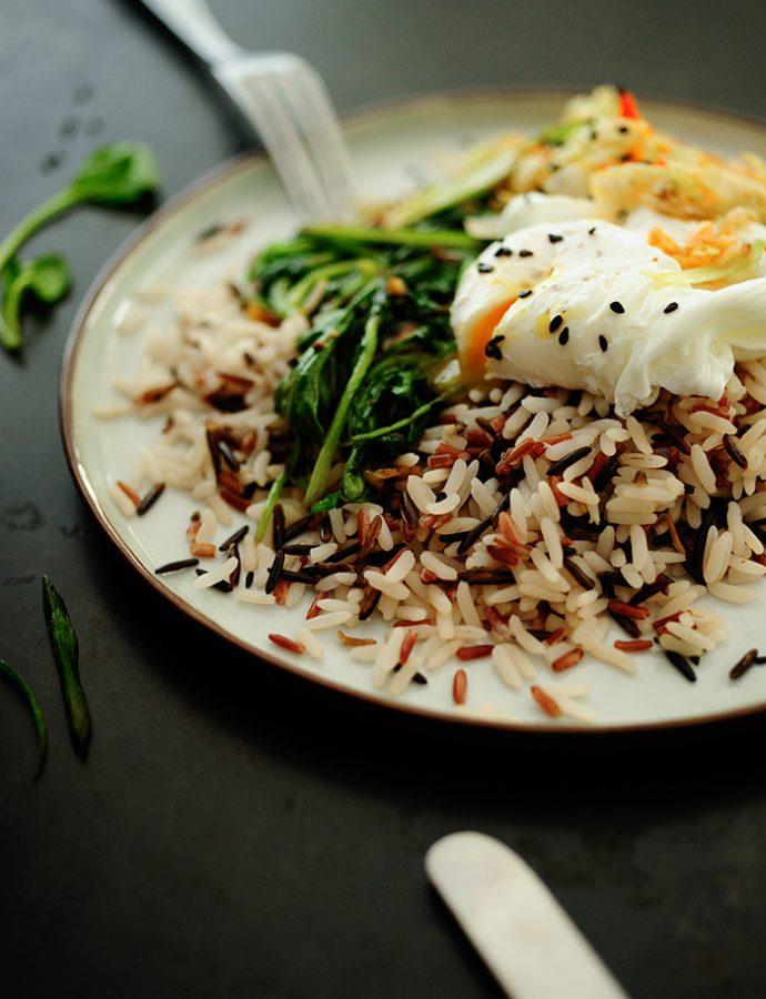 Ryż ze szpinakiem i kimchi