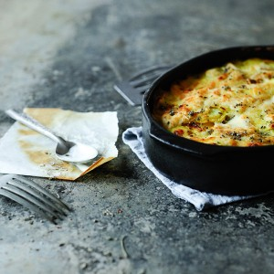 Potato gratin with sour cream and sage
