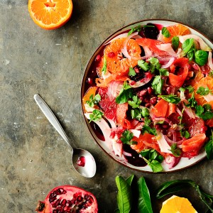 Citrus, beet and fennel salad with smoked salmon