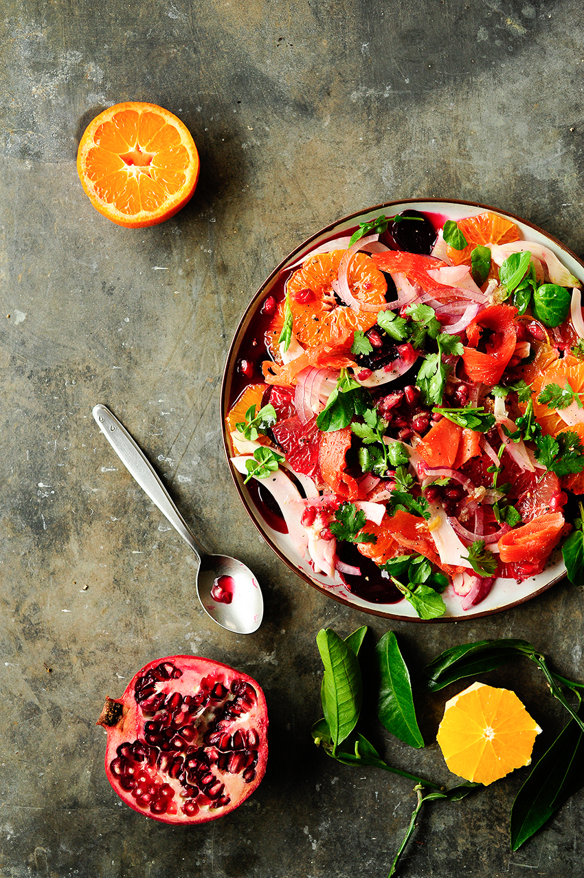 sreving dumplings | Citrus, beet and fennel salad with smoked salmon