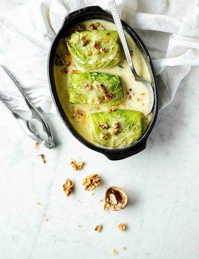 Koolrolletjes met aardappelen, witloof en peer in Gorgonzolasaus