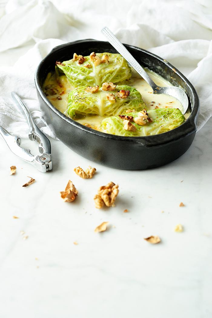 studio kuchnia | Gołąbki z ziemniakami, cykorią i gruszką w sosie gorgonzola