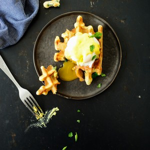 Spelt waffles with smoked salmon and eggs florentine