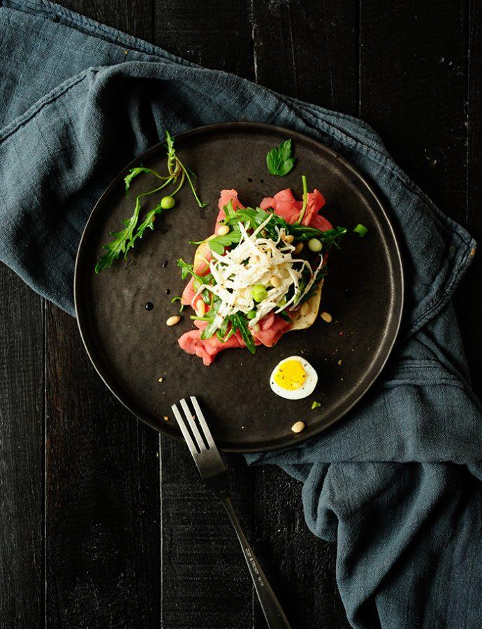 Carpaccio met selder en mierikswortel