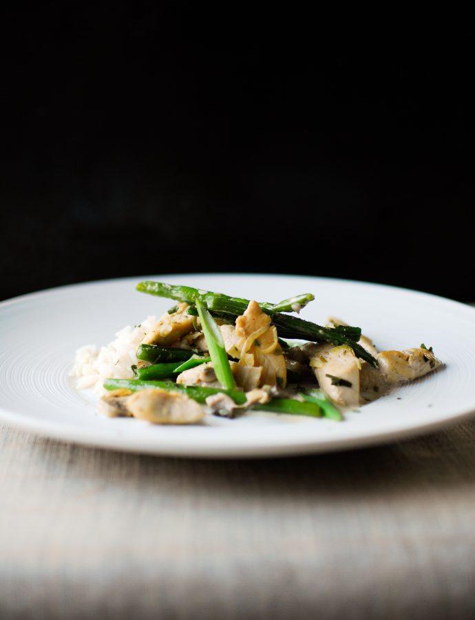 Chicken and green beans stir-fry