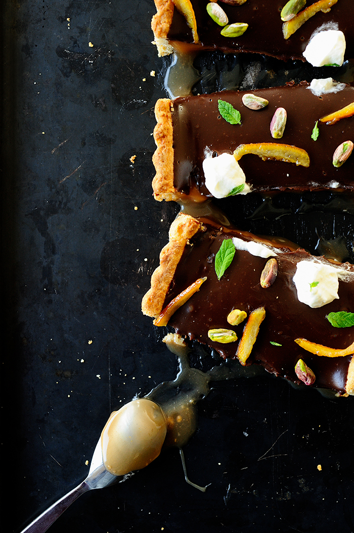 serving dumplings   Chocolate caramel tart