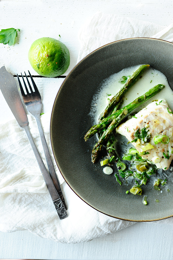 Cod in coconut sauce with asparagus and wasabi recipes for Fish and asparagus