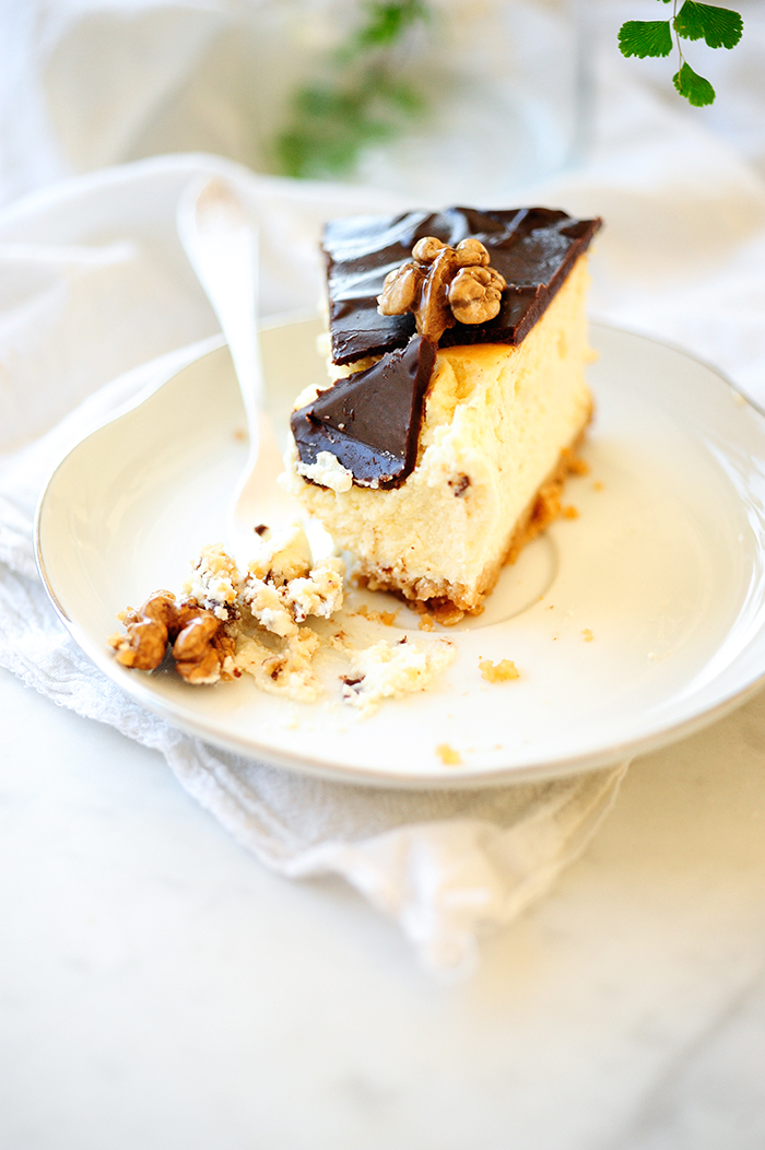 serving dumplings| Honey cheesecake with ganache and walnuts