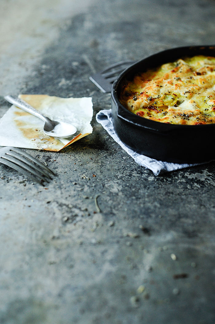 serving dumplings | Potato gratin with sour cream and sage